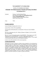 CCGL9025 The Political Economy of Growth and Poverty in the world
