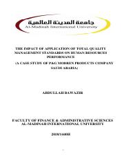 The Impact Of Application Of Total Quality Management Standards On Human Resources Performance Pdf The Impact Of Application Of Total Quality Course Hero