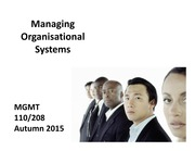 Managing Organisational Systems