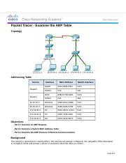 5.3.2.8 Packet Tracer - Examine the ARP Table.docx