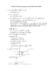Math 101 Apr 00 Solutions