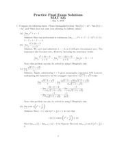 MAT 125 Final Exam S2006 Solutions