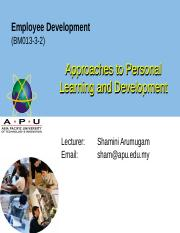 WEEK 6 Approaches to Personal Learning and Development