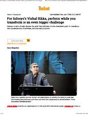 For Infosys's Vishal Sikka, perform while you transform is an even bigger challenge - Livemint.pdf