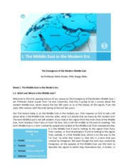 1-The Emergence of the Modern Middle East