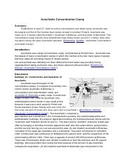 Research Report on Concentration Camp Auschwitz