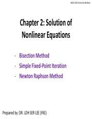 Chapter 2 Solution of Nonlinear Equations