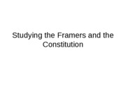 Studying Framers and the Constitution