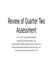 2017 Review of Quarter Two Assessment