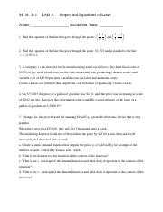 lab A mth 241 slopes and equations of lines