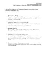 unit 7 assignment 7.3 create a vpn troubleshooting checklist
