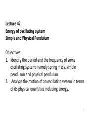 3rdLE Lecture 41 - R16 Energy in SHM, Simple and physical pendulum