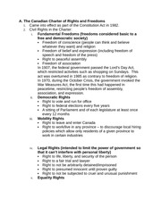 Socials 11 Charter of Rights Notes