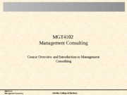 01 Management Consulting and Course Overview