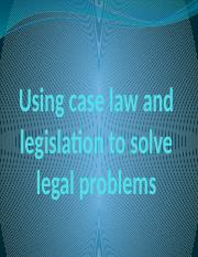 Legal Problem Solving - Lecture One