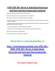 UOP STR 581 Week 3 Individual External and Internal Environmental Analysis