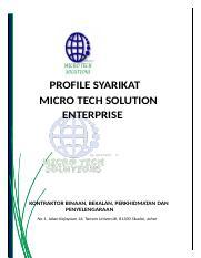 Profile Syarikat Micro Tech2 Baru Punyee A Docx Profile Syarikat Micro Tech Solution Enterprise Kontraktor Binaan Bekalan Perkhidmatan Dan Course Hero