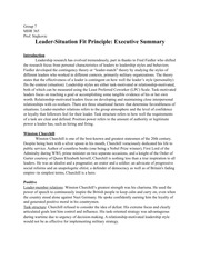 Leader-Situation Fit Principle Executive Summary