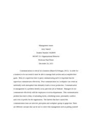 Management organisational behaviour essay