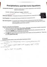 Precipitations and Net Ionic Equations Notes