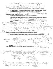 Notes on Moles, Mass Percentages, and Chemical Formulas 09-105 F 14