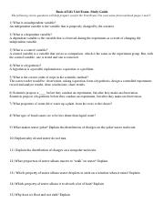 Basis of Life Unit Exam Study Guide - Short Answer Questions.doc