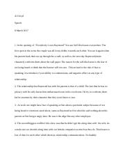 Interpersonal Worksheet Speech