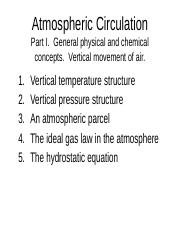 lecture_100218 pptx - Atmospheric Circulation Part I General