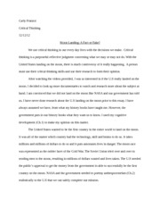 Critical Thinking Final Paper
