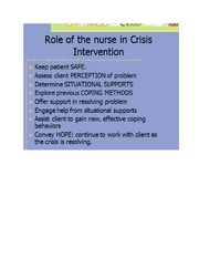 Role of the Nurse in Crisis Intervention (3)