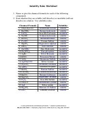solubility rules worksheet answers - Solubility Rules Worksheet 1 Name or give the chemical formula for each of the following compounds 2 State whether