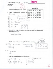 STATS 1 Exam 1 Answer Key