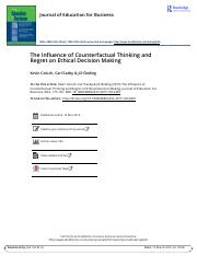 The Influence of Counterfactual Thinking and Regret on Ethical Decision Making