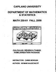 Math 230 Calc Review Solutions