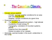 Canadian Climate: Lecture Notes with Student Notes