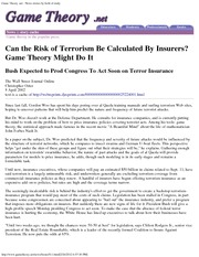 Terrorism risk and game theory