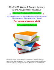 BSHS 425 Week 3 Dream Agency Team Assignment Proposal.doc