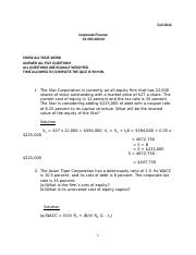 corporate finance solution quiz 1 End of chapter solutions corporate finance 8th edition ross, westerfield, and jaffe updated 11-21-2006 chapter 1 introduction to corporate finance answers to concept questions 1 in the corporate form of ownership, the shareholders are the owners of the firm.