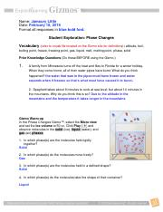 Investigate Use the Gizmo to explore phase changes Use the ...