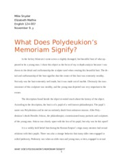 What Does Polydeukion's Memoriam Signify?