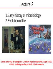 Lect 2 History of Micro, Evolution of life