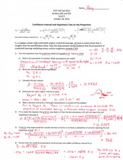 Statistics for Engineers Quiz 9 Answer Key