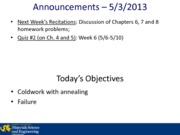 Lecture 14A - 5-3-2013 Failure in Metals