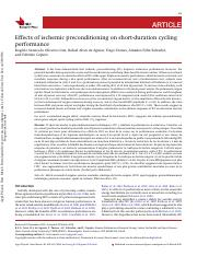 1b Effects of ischemic preconditioning on short-duration cycling performance