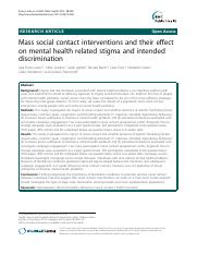 Evans-Lacko (2012) Mass social contact interventions and their effect