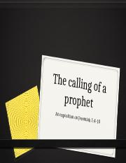 The calling of a prophet-jeremiah - Paper