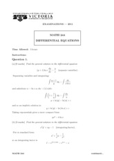 MATH 244 2011 Final Exam with Solutions