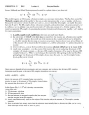 Lecture 6-15 - Enzyme kinetics