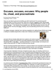 Excuses, excuses, excuses_ Why people lie, cheat, and procrastinate