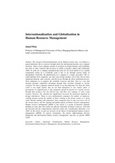 Internationalization and Globalization in HRM